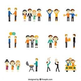 Iconos de concepto de amistad