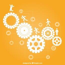 Iconos de concepto de trabajo en equipo