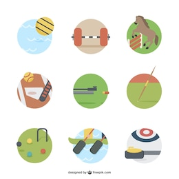 Iconos de deportes a color