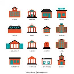 Iconos de edificios de la ciudad