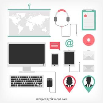 Iconos de equipos de oficina