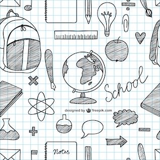 Iconos de escuela dibujados a mano
