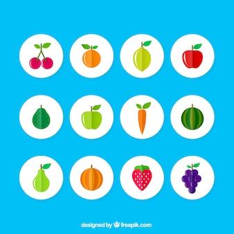 Iconos de frutas de colores