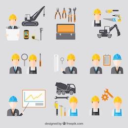 Iconos de ingeniería de construcción