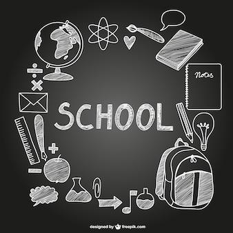 Iconos de la escuela en pizarra