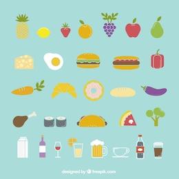 Iconos de los alimentos de colores