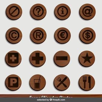 Iconos de madera del restaurante