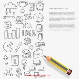 Iconos de negocio en estilo esbozado