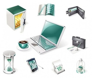 Iconos de negocios financieros establecidos
