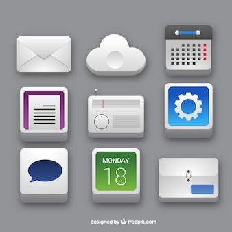 Iconos de oficina 3d fijaron