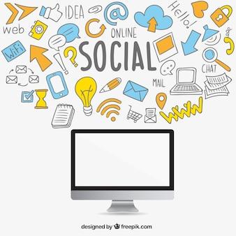 Iconos de redes sociales esbozados y ordenador