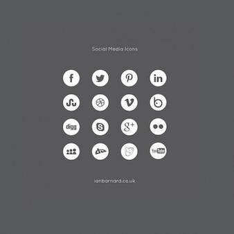 Iconos de redes sociales establecidas paquete de vectores