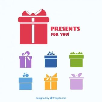 Iconos de regalos coloridos