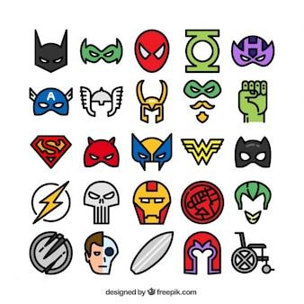 Iconos de superhéroes de colores