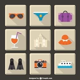 Iconos de vacaciones de verano