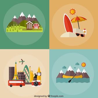 Iconos de vacaciones diferentes