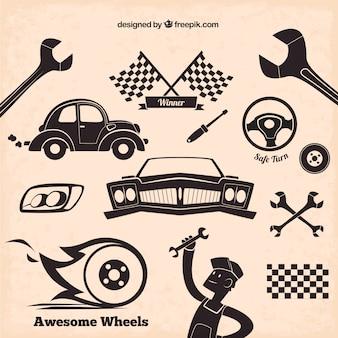 Iconos del mecánico en el estilo retro