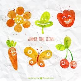 Iconos del verano acuarela