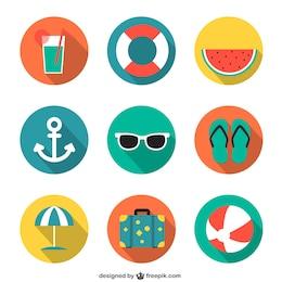 Iconos del verano en estilo colorido