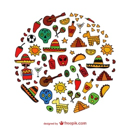 Iconos dibujados a mano de México