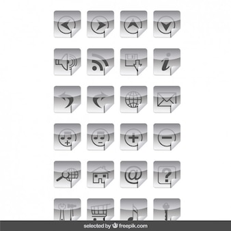 Iconos grises pegatinas