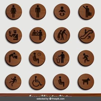 Iconos humanos de madera