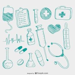 Iconos médicos dibujados a mano