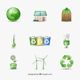 Iconos medioambientales para el día de la tierra