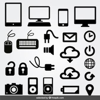 Iconos monocromáticos de Internet conjunto