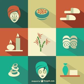 Iconos planos de spa