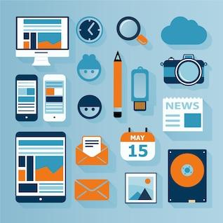 Iconos planos de tecnología multimedia