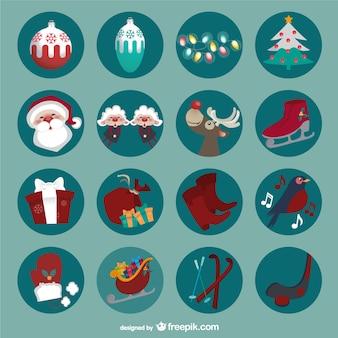 Iconos redondos de Navidad