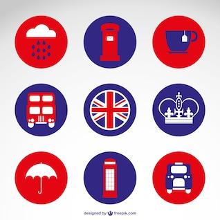 Iconos redondos de Reino Unido