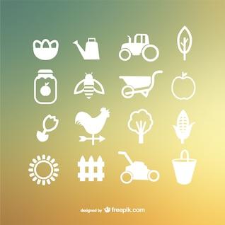 Iconos vectoriales de granja