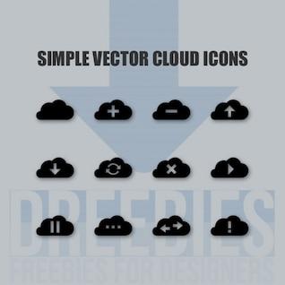 Iconos vectoriales nubes negras