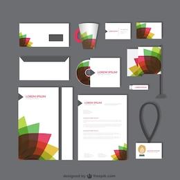 Identidad corporativa con pétalos de colores