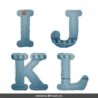 IJKL alfabeto Denim