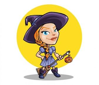 Ilustración de la bruja de Halloween
