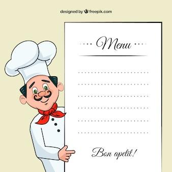 Ilustración Chef con una plantilla de menú