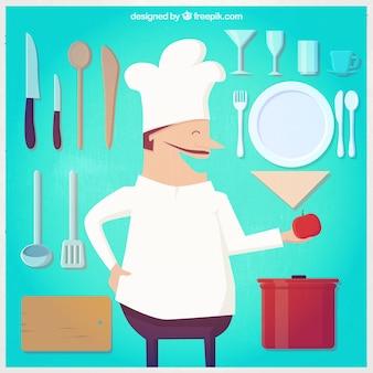 Ilustración chef y herramientas de cocina