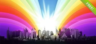 Ilustración colorida PSD Urbano