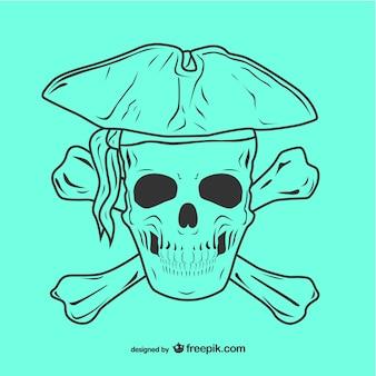 Ilustración de calavera pirata