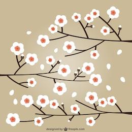 Ilustración de cerezos en flor