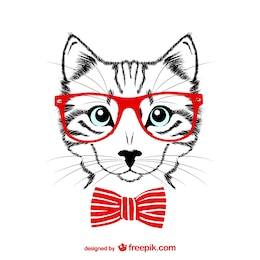 Ilustración de gato hipster