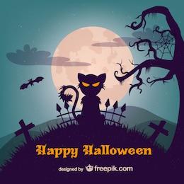Ilustración de gato maligno para Halloween