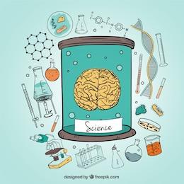 Ilustración de iconos del cerebro humano y ciencia