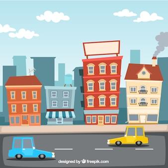 Ilustración de la ciudad de dibujos animados