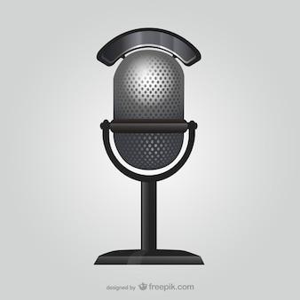 Ilustración de micrófono de estilo retro