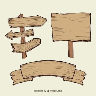 Ilustración de señales de madera