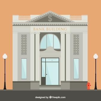 Ilustración del edificio del banco hace en estilo plano